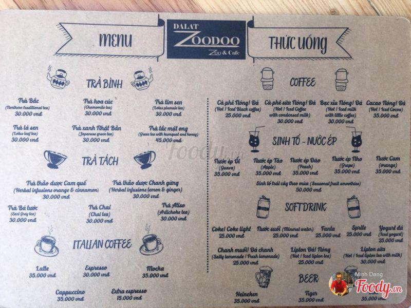 Thực Đơn Sở Thú Zoodoo Cafe